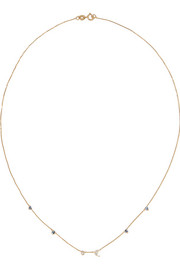 Linear 14-karat gold multi-stone necklace