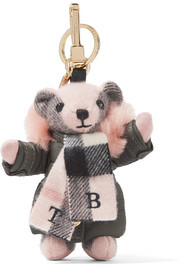 Checked cashmere and shearling keychain