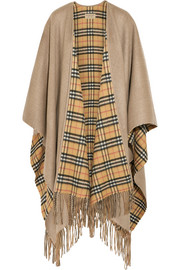 Reversible fringed checked cashmere and wool-blend wrap