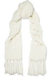 Fringed cable-knit wool and cashmere-blend scarf
