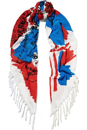 Fringed printed silk and cotton-blend scarf