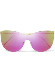 Illesteva Boca Mask cat-eye gold-tone mirrored sunglasses