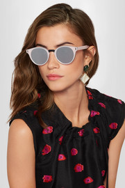 Amalfi round-frame acetate mirrored sunglasses