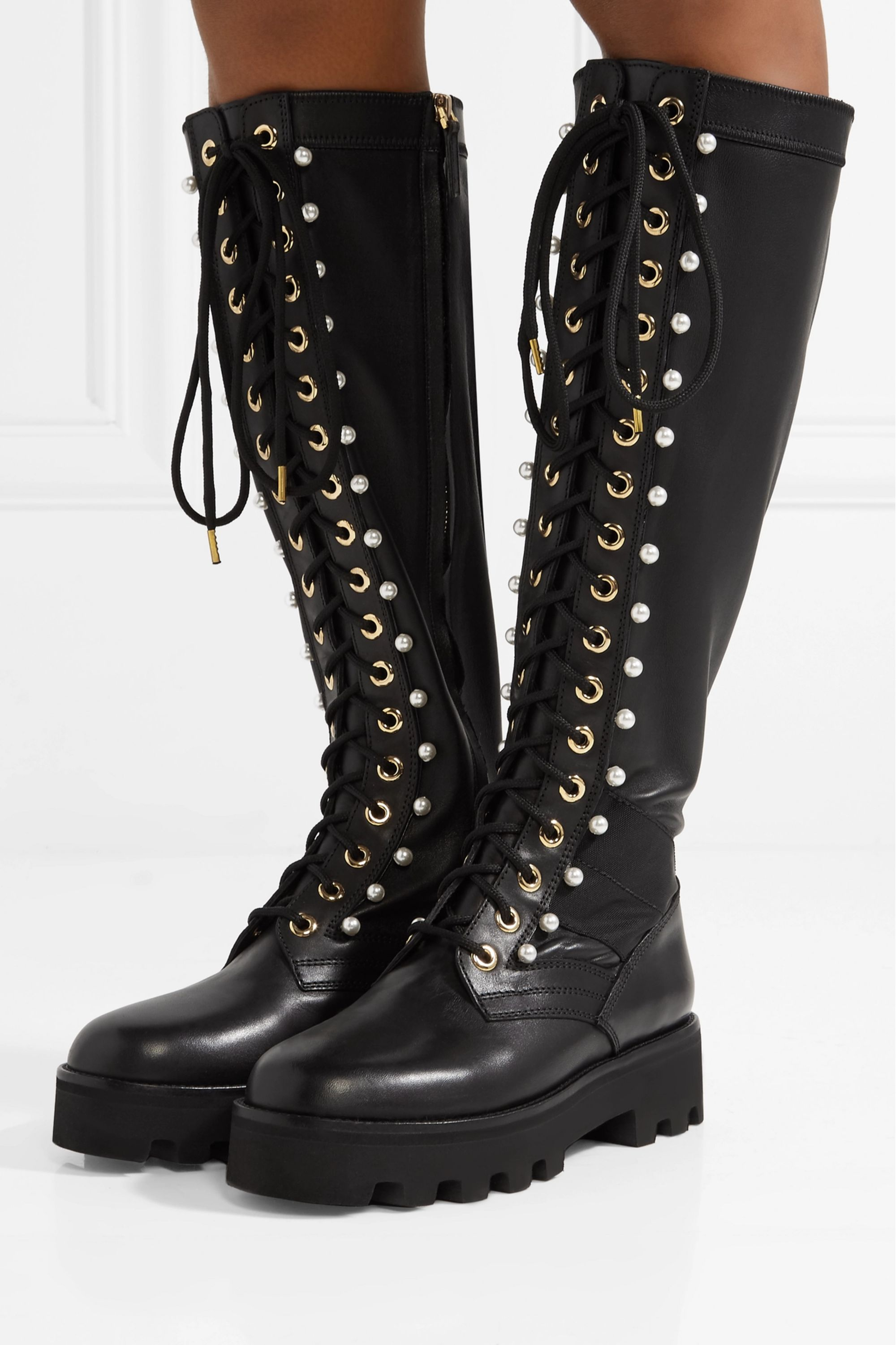 Altuzarra Cosmo faux pearl-embellished leather knee boots