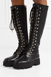 Cosmo faux pearl-embellished leather knee boots