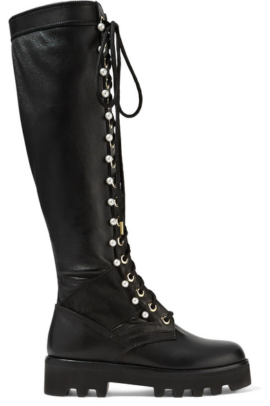 Altuzarra - Cosmo Faux Pearl-embellished Leather Knee Boots - Black