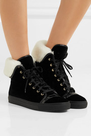 Lanvin Shearling-lined velvet high-top sneakers