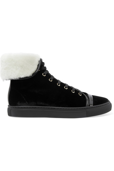 Lanvin - Shearling-lined Velvet High-top Sneakers - Black at NET-A-PORTER