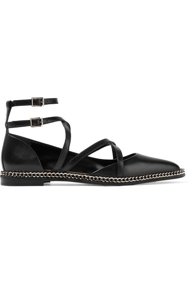 Lanvin - Chain-embellished Leather Point-toe Flats - Black at NET-A-PORTER