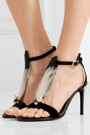Embellished velvet and patent-leather sandals