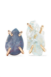14-karat gold, opal and aquamarine earrings