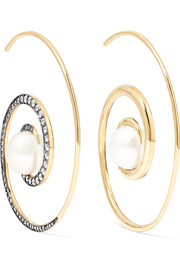 Spiral Moon 18-karat gold, diamond and pearl earrings