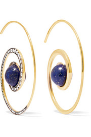 Spiral Moon 18-karat gold, diamond and lapis lazuli earrings
