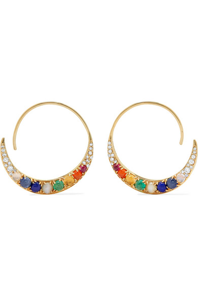 Noor Fares - Navratna Tribal 18-karat Gold Multi-stone Hoop Earrings