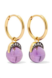 Mala 18-karat gold, amethyst and diamond earrings