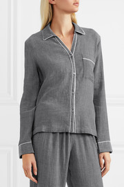 Delaney crinkled-cotton gauze pajama shirt