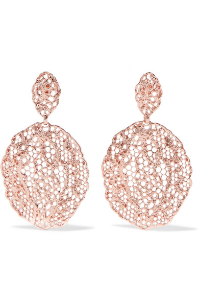 Aurélie Bidermann - Lace Rose Gold-plated Earrings - one size