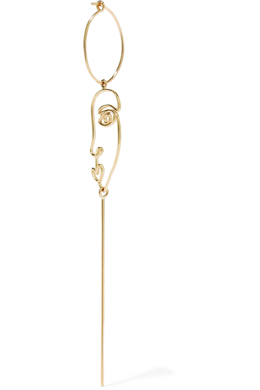 SARAH & SEBASTIAN Long Face Ohrring aus 14 Karat Gold