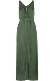 Raquel Allegra Gathered satin-jersey maxi dress