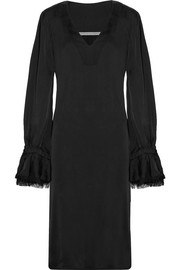 Raquel Allegra Frayed satin-jersey midi dress