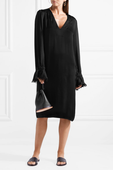 Frayed Satin-jersey Midi Dress - Black Raquel Allegra 2018 New Clearance Amazon Pay With Visa Discount Popular Outlet Visit New utwvWj6T8G