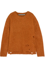 Raquel Allegra Lofty distressed knitted sweater