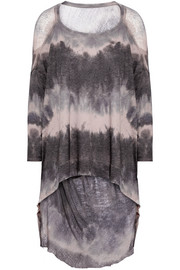 Raquel Allegra Distressed tie-dyed cotton-blend jersey top