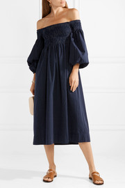 Carnival off-the-shoulder cotton-jacquard midi dress