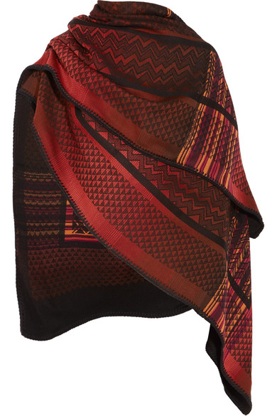 Missoni - Crochet-knit Wool Poncho - Burgundy