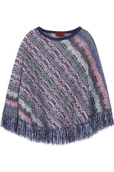 Missoni - Crochet-knit Wool Poncho - Purple