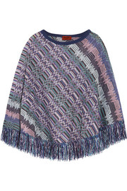 Missoni Crochet-knit wool poncho