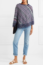 Crochet-knit wool poncho