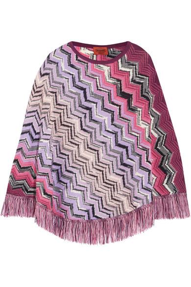 Missoni - Crochet-knit Wool Poncho - Pink