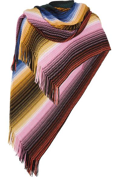 Missoni - Fringed Crochet-knit Wool-blend Poncho - Pink