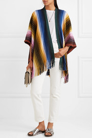 Fringed crochet-knit wool-blend poncho