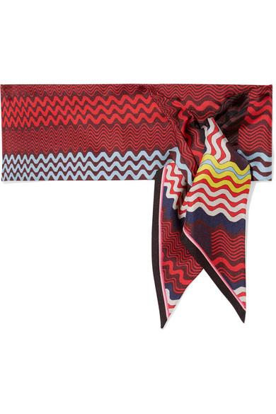 Missoni - Printed Silk-twill Scarf - Burgundy