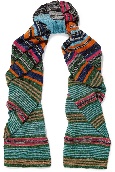Missoni - Striped Metallic Stretch-knit Scarf - Turquoise