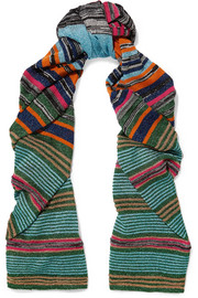 Missoni Striped metallic stretch-knit scarf