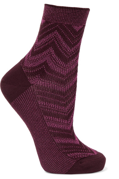 Missoni - Metallic Crochet-knit Socks - Magenta