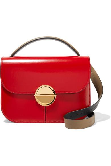 Marni - Tuk Medium Color-block Glossed-leather Shoulder Bag - Claret