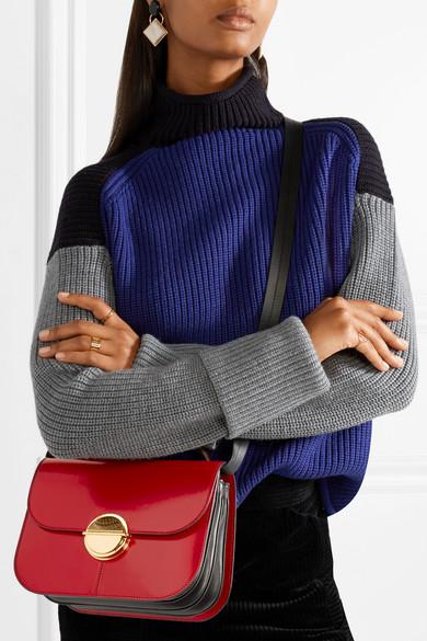 Marni Tuk mittelgroße Schultertasche aus Glanzleder in Colour-Block-Optik