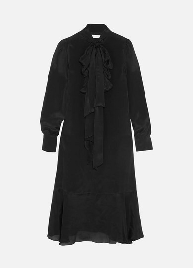 See by Chloé - Pussy-bow Crepe De Chine Dress - Black