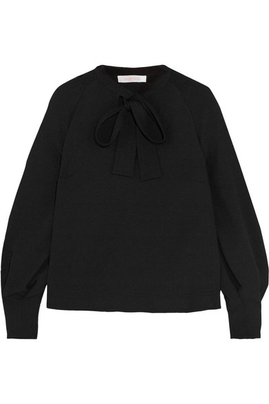 See by Chloé - Pussy-bow Crepe Blouse - Black
