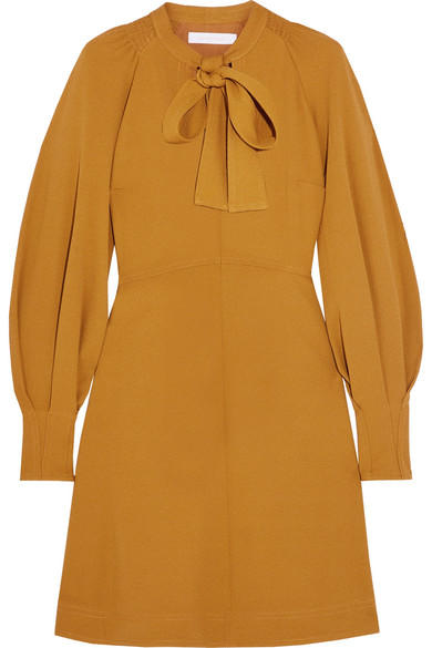 See by Chloé - Pussy-bow Stretch-crepe Dress - Mustard