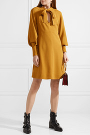 See by Chloé Pussy-bow stretch-crepe dress
