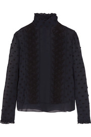 See by Chloé Embroidered georgette top