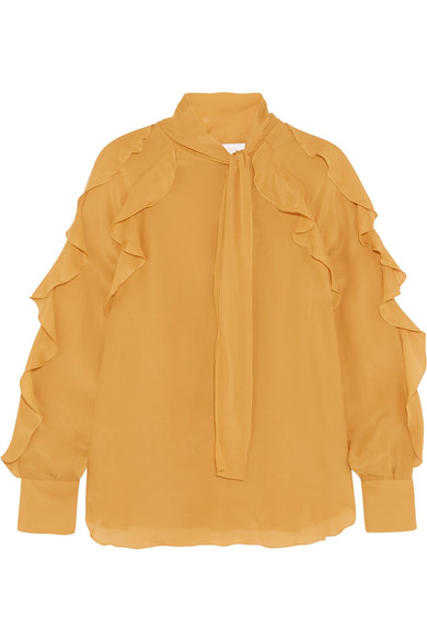 See by Chloé - Ruffled Pussy-bow Chiffon Blouse - Marigold