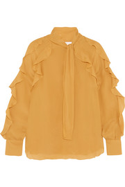 See by Chloé Ruffled pussy-bow chiffon blouse