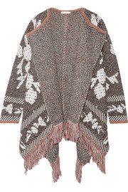 See by Chloé Fringed cotton-blend jacquard cardigan
