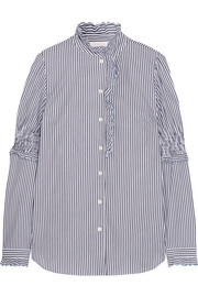 See by Chloé Ruffled striped cotton blouse